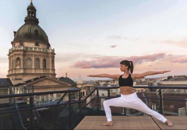 Private yoga session on the rooftop of Aria Hotel Budapest.