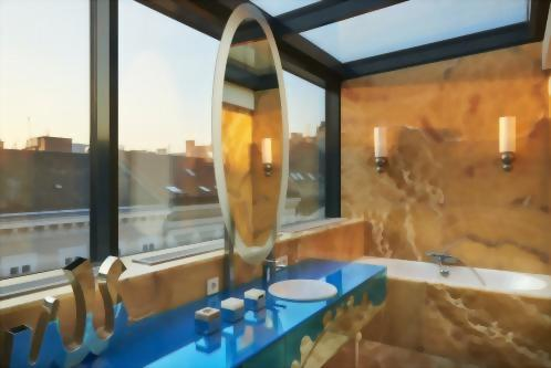 Classical Music Style SunRoom Onyx Bathroom with City Views.