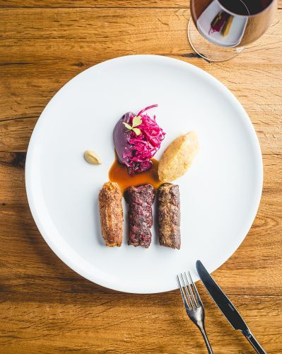 Vegan Bangers dish from the fall-winter menu at Liszt Restaurant